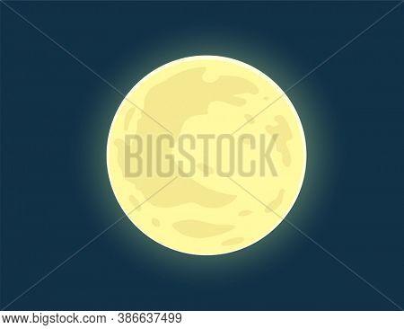 Full moon. Bright Moon on nighttime blue sky. Illustration.