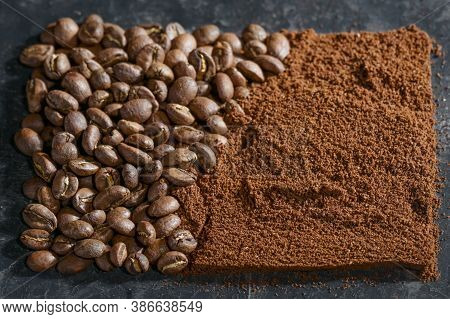 Roasted Coffee Beans And Ground Coffee Arranged In A Square Shape, Copy Space, Selected Focus, Narro