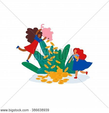 The Concept Of The Pension Fund Of The Women Are Raising Money Vector Illustration. Finance Investme