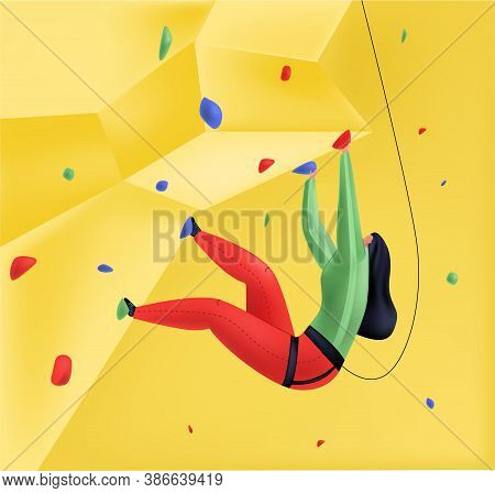 Vector Illustration Of Female Climber Climbing Wall With Safety Net. Mix Of 3d And Flat Styles. Conc