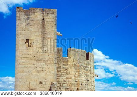 The historic tower. Antique walls of the medieval port of Aigues-Mortes. Mediterranean coast of France. The concept of active, historical and photo tourism
