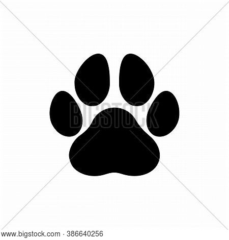 Paw Print Icon On White Background. Flat Style. Dog, Cat, Beer Paw Symbol. Black Animal Paw Print Si