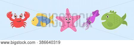 Set Of Funny Ocean Animals Isolated On A White Background. Sea Creatures. Marine Animals And Aquatic
