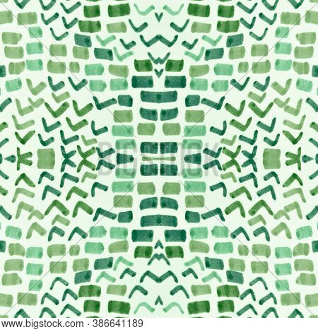 Seamless Cobra Pattern. Green Color Rapport. Trendy Zoo Wallpaper. Cobra Leather Wild Surface. Grung