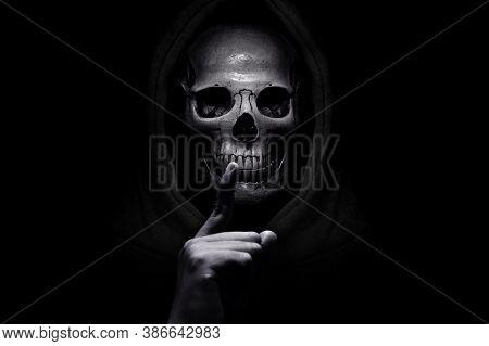 Grim Reaper On Dark Background, Halloween Theme