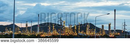 Banner Oil Refinery Gas Petrol Plant Industry With Crude Tank, Gasoline Supply And Chemical Factory.