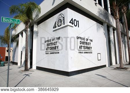 Santa Ana, California / USA - September 23-2020: Office of the District Attorney. Orange County California District Attorney Office in Santa Ana California. Editorial Use Only.
