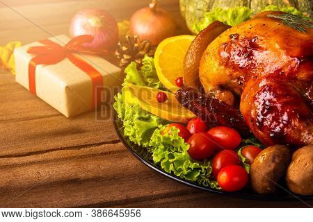 Thanksgiving Baked Turkey Or Chicken And Vegetables, Christmas Dinner Feast Food Decoration, Studio