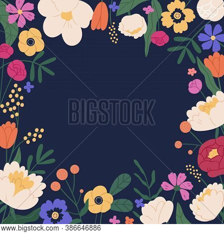 Elegant Square Background With Colorful Bloom Flower Vector Flat Illustration. Decorative Template W