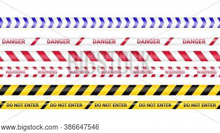 Police Tape, Crime Danger Line. Caution Police Lines Isolated. Warning Barricade Tapes. Set Of Warni