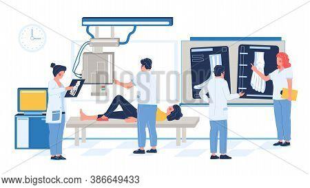 Medical Xray Test Of Leg Bone Fracture, Injury In Hospital Room, Flat Vector Illustration.
