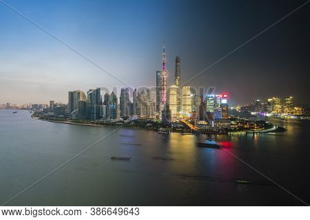 Composite Image Of Pudong Area Of Shanghai From Sunet To Night