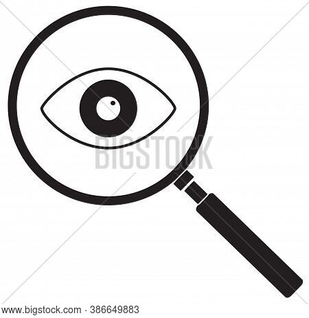 Magnifier With Eye Icon On Write Background. Flat Style. Magnifying Glass And Eye Sign. Search Glass