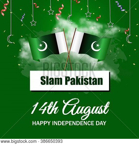 14th August Pakistan Independence Day Banner Or Poster With National Flag And Minor-e-pakistan. Conc