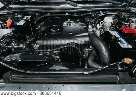 Novosibirsk, Russia - September 19, 2020: Mitsubishi L200, Close Up Of A Clean Motor Block. Internal