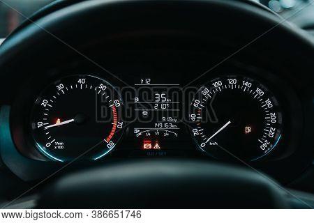 Novosibirsk, Russia - September 19, 2020: Scoda Rapid, Round Speedometer, Odometer With A Range Of 1