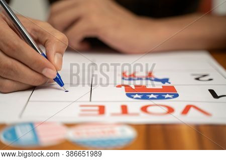 Maski, India 20, September 2020 : Close Up Of Hands Voting By Selecting The Political Party At Polli