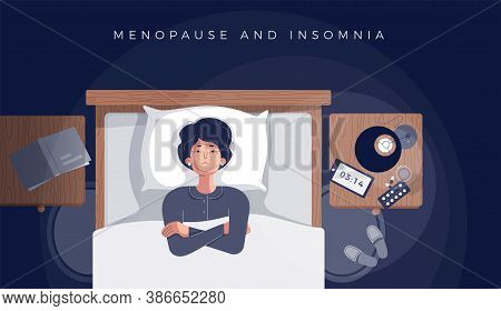 Senior Woman Suffers From Insomnia, Menopause Symptom. Mature Female Insomniac Lying Awake In Bed Lo