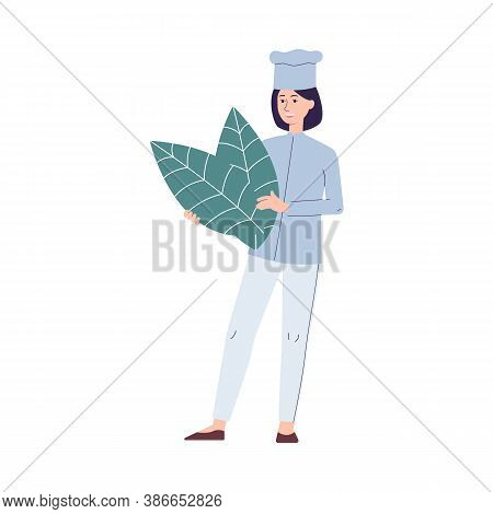 Tiny Chief Holding Leaves Of Mint Or Basil, Flat Vector Illustration Isolated.