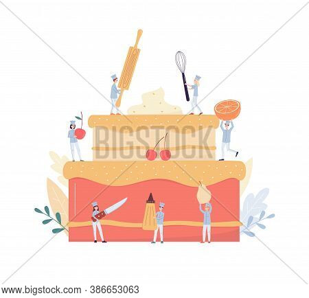 Tiny Confectioners And Bakers Decorate Cake Flat Vector Illustration Isolated.