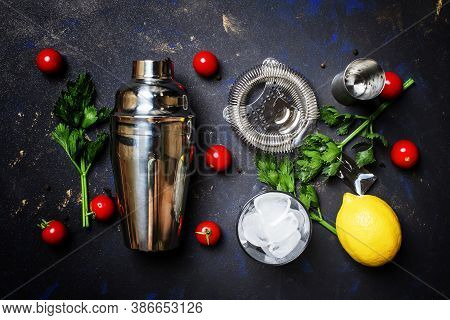 Preparing Alcoholic Cocktail With Tomato, Lemon Juice, Hot Sauce, Celery And Vodka, Black  Backgroun