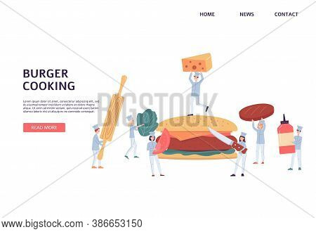 Website Interface Design With Chiefs Cooking A Burger, Flat Vector Illustration.