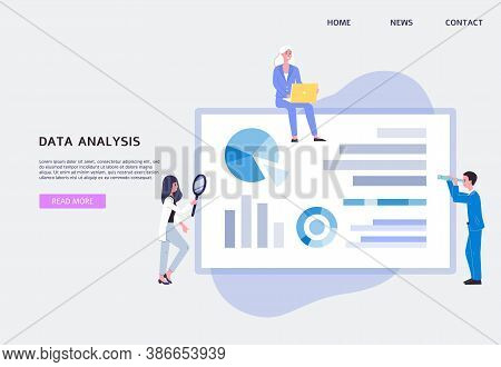 Data Analysis Web Banner With People Analysing Graphs, Flat Vector Illustration.