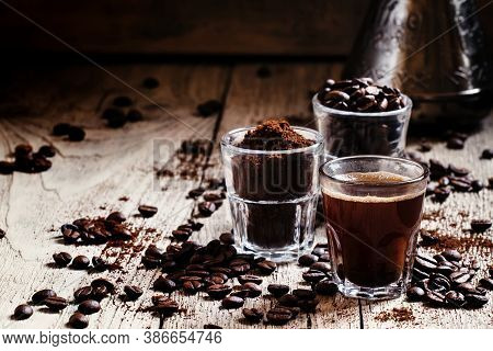 Black Espresso Coffee And Ingredients For Cooking: Roasted Coffee Beans, Ground Coffee, Turkish Coff