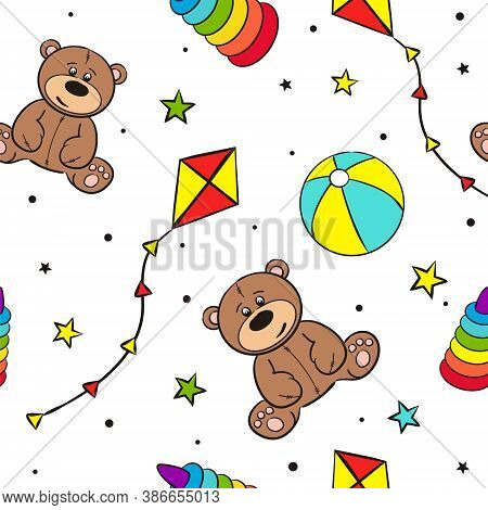 Seamless Pattern Of Hand-drawn Toys. Childish Background With A Stars, Teddy Bear, Ball And Pyramid.