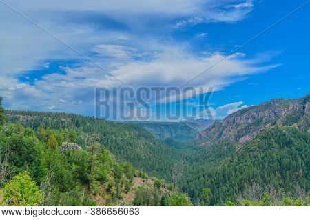 Beautiful View From Oak Creek Vista In The Mountains Of Arizona Pine Forest.