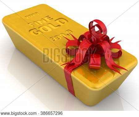 The Highest Standard Gold Bar As A Gift. One Ingot Of 999.9 Fine Gold Tied With A Red Ribbon With A