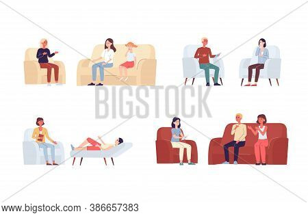 Psychologist Consultation Set - Cartoon Characters At Therapist Office