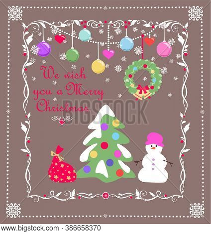 Vintage Xmas greeting handmade childish card with Christmas snowy tree, snowman, gift, hanging wreath and colorful balls