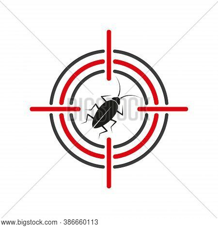 Vector Cockroach In Sight Symbol. Isolated On White Backgroud