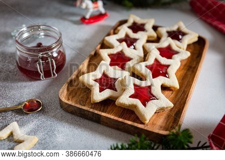 Christmas Or New Year Homemade Sweet Biscuits On Wooden Tray. Traditional Austrian Christmas Cookies