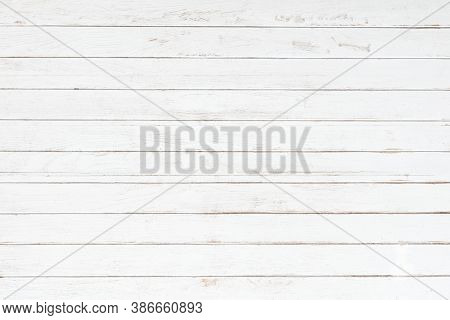 White Grey Wood Color Texture Horizontal For Background. Surface Light Clean Of Table Top View. Natu