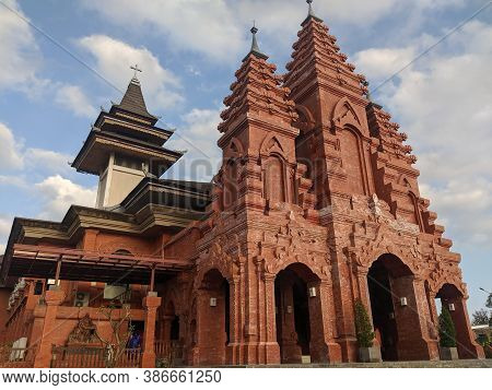 Denpasar, Indonesia - September 28, 2019: The Exterior Of Katedral Roh Kudus Holy Spirit Cathedral W