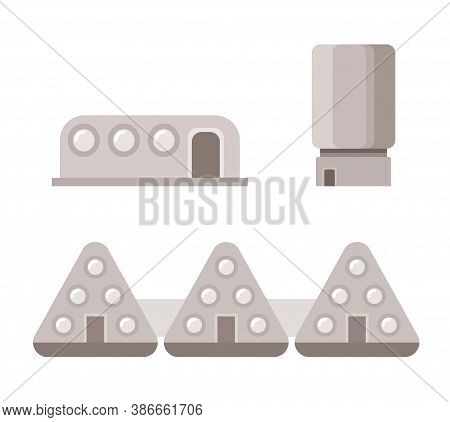 Mars Settlement. Colonist Houses Flat Icons. Vector Illustration Isolated On White Background.