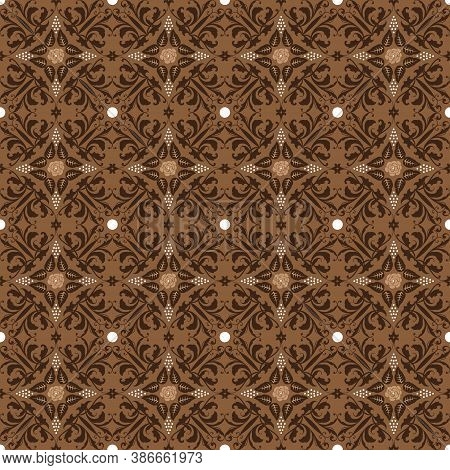 Elegant Flower Motifs On Bantul Batik With Simple Dark Brown Color Design.