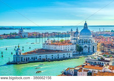 Aerial View Of Venice Historical City Centre, Santa Maria Della Salute Catholic Church On Punta Dell