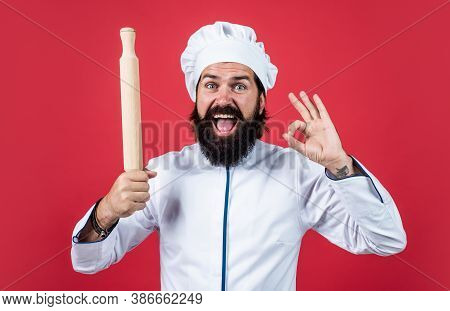 Happy Baking. Concept Of Housekeeping. Perfect Quality With Ok Gesture. Mature Man Wear Chef Hat. Ma