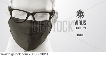 Novel Coronavirus Covid-2019. Man In White Color In Black Mask On A White Background. Virus 2019-nco