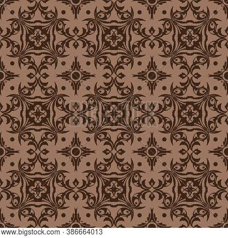 Beautiful Flower Motifs On Parang Batik Design With Smooth Brown Color Design.