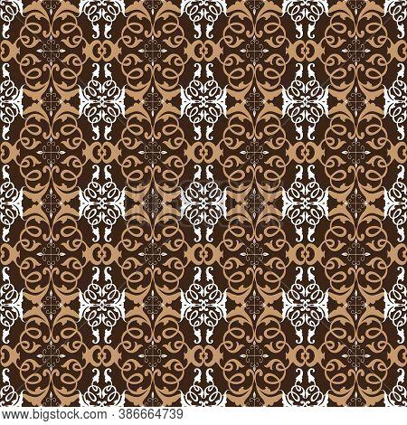 Beautiful Flower Pattern On Parang Batik Design With Modern Dark Brown Color Concept.