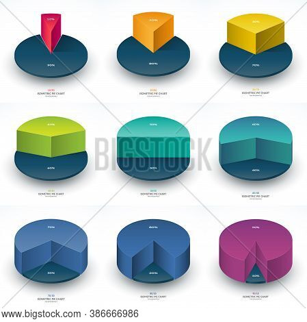 Set Of Infographic Isometric Pie Chart Templates. Share Of 10, 20, 30, 40, 50, 60, 70, 80 And 90 Per