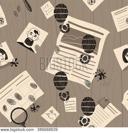 Seamless Vector Pattern Of Detective Investigation. Traces Of Crime. Evidence Photo, Information In