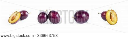 Plum Fruits Set Close Up Macro Shot. Whole And Half Plums. Oragnic Sweet Plums Fresh And Delicious.