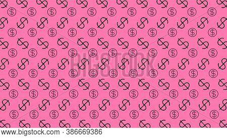 Dollar Money Sign Pattern, Pink Background, Usd Dollar Currency Symbol For Wallpaper, Dollar Pattern