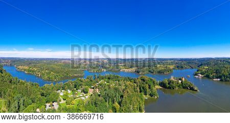Ottenstein Lake. Panorama View From Above To The Reservoir And The Old Ruin Of Lichtenfels During Su