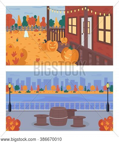 Fall Weekend In City Flat Color Vector Illustration Set. Halloween Decoration In House Backyard. Tab
